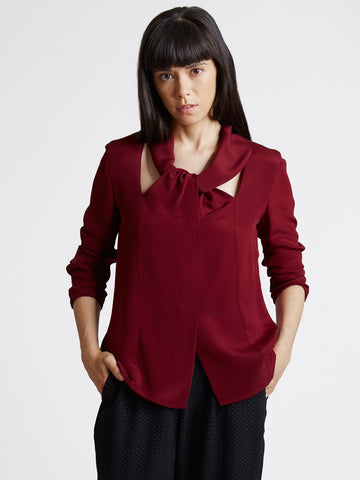 wine red silk top with back loop