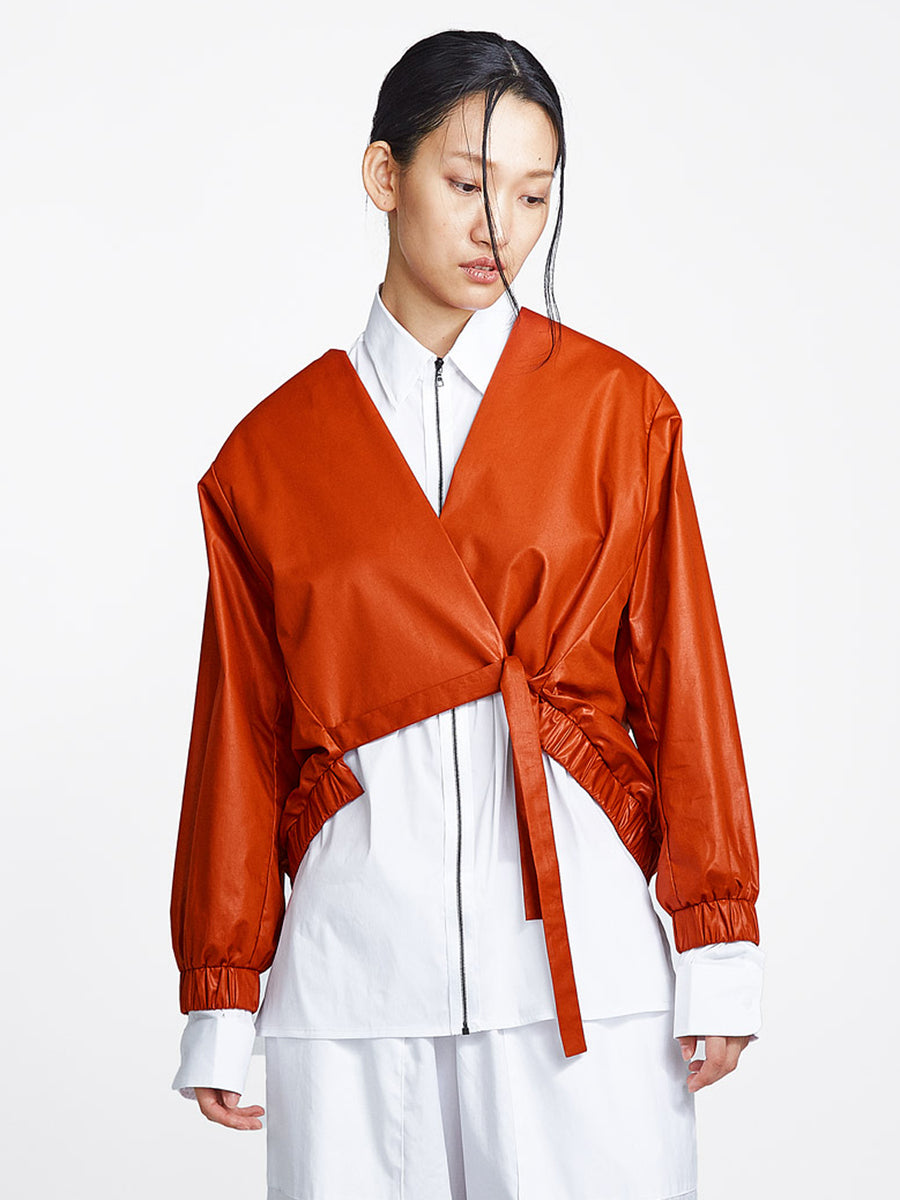 Bomber Tie Jacket Burnt Orange