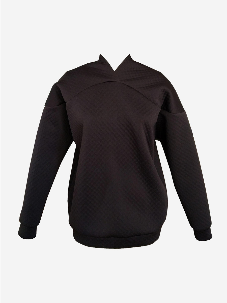 Black neoprene sweater