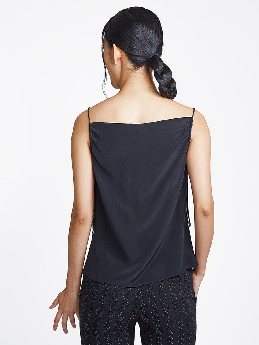 Elasticated Tank Black
