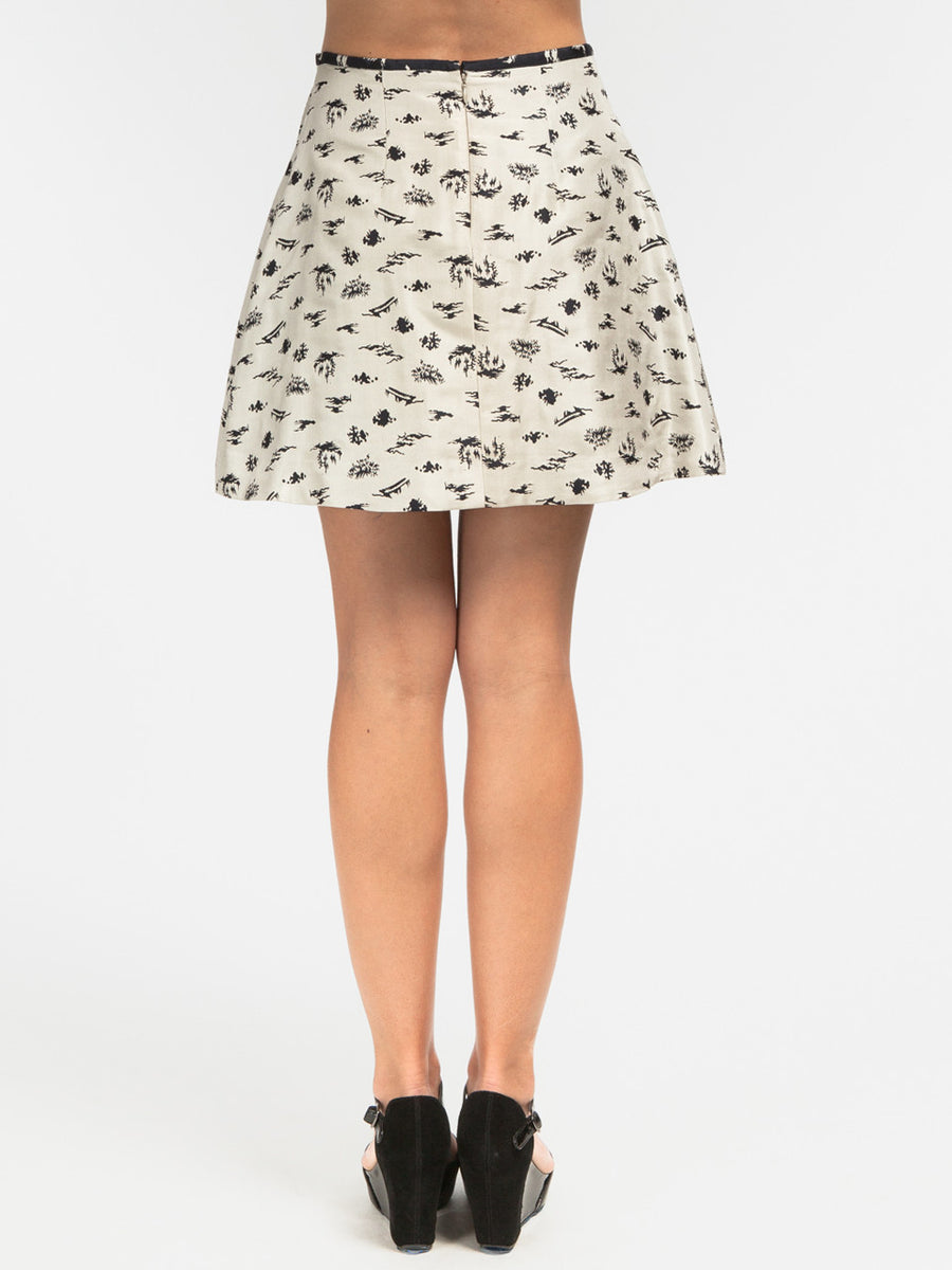 Pad Pleat Skirt Ivory