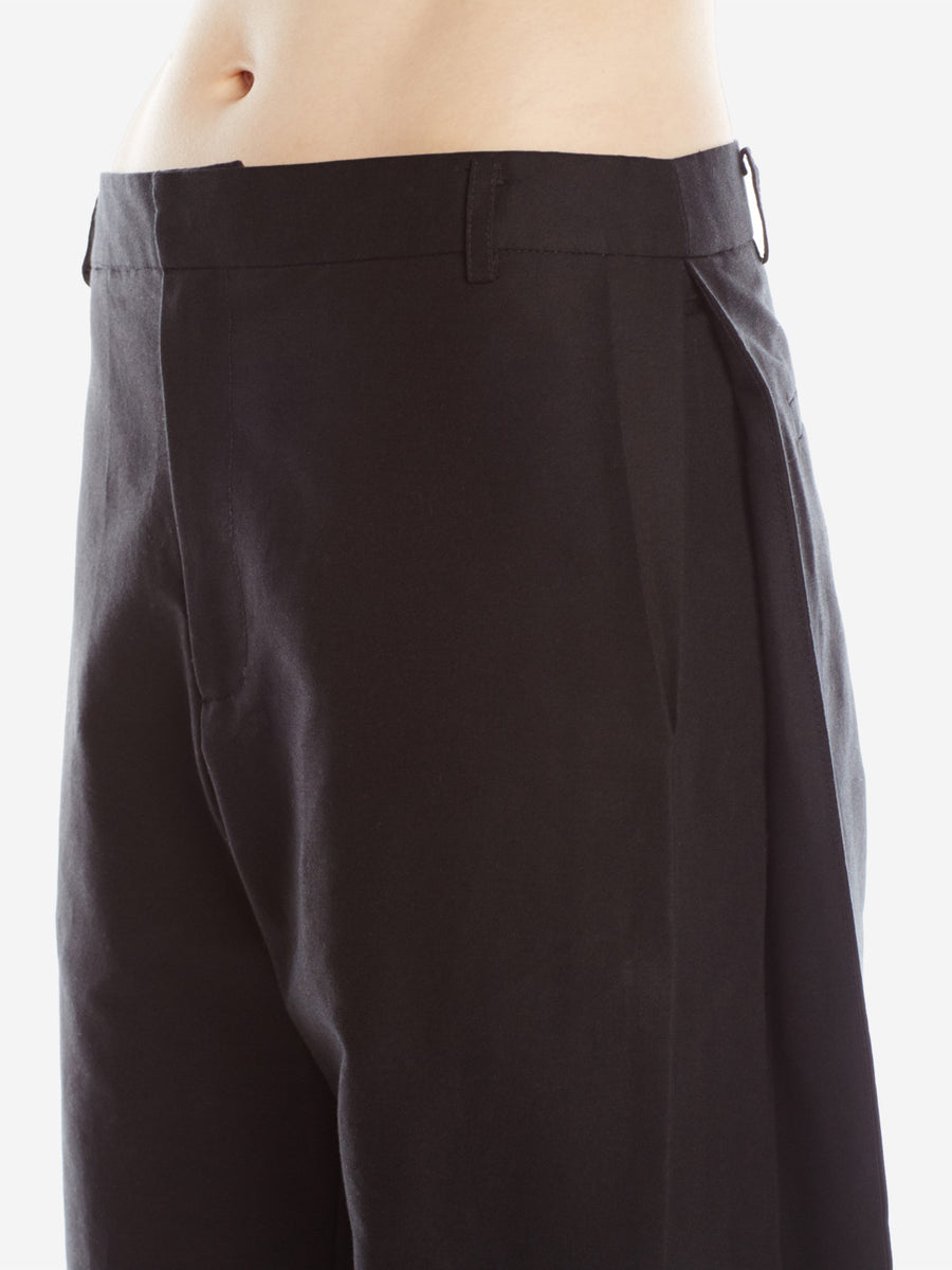 Side Pleat Pants Black