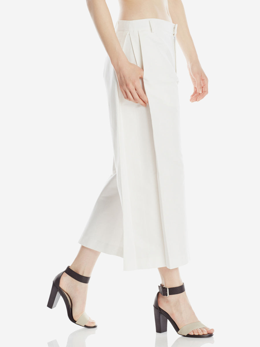 Side Pleat Pants White