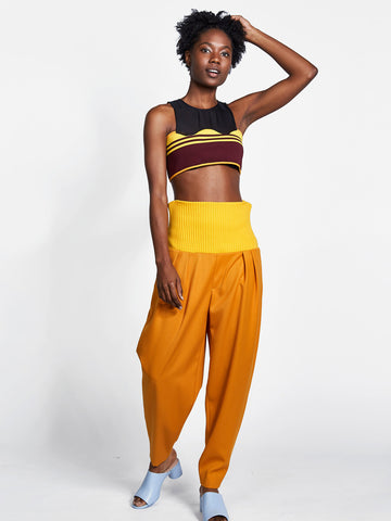 Cropped Curve Rib Top Maroon/Yellow