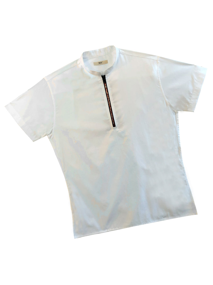 White Zipper Short Sleeve Polo with Red