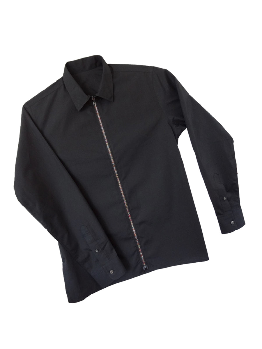 Mens black cotton collared shirt with rainbow zipper.