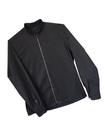 Black Zipper Shirt with Mandarin Collar