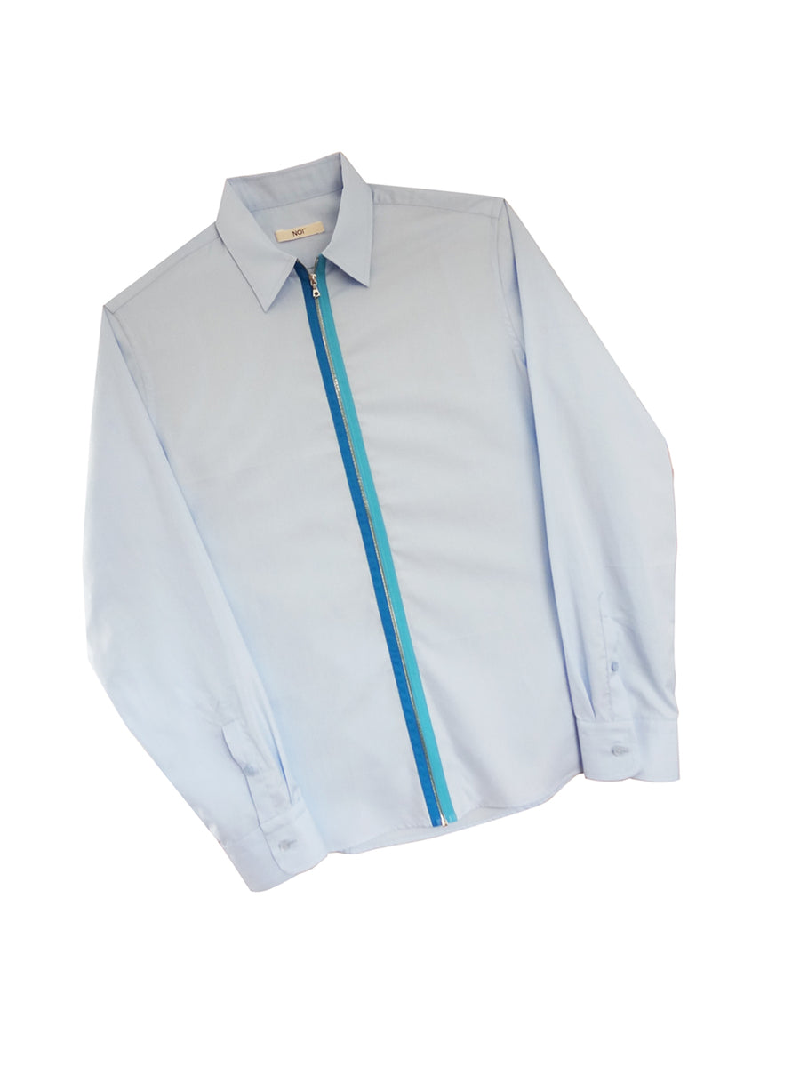 Blue Two-Tone Zipper Shirt