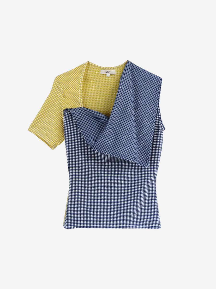Blue and Yellow color blocking asymmetric draped top