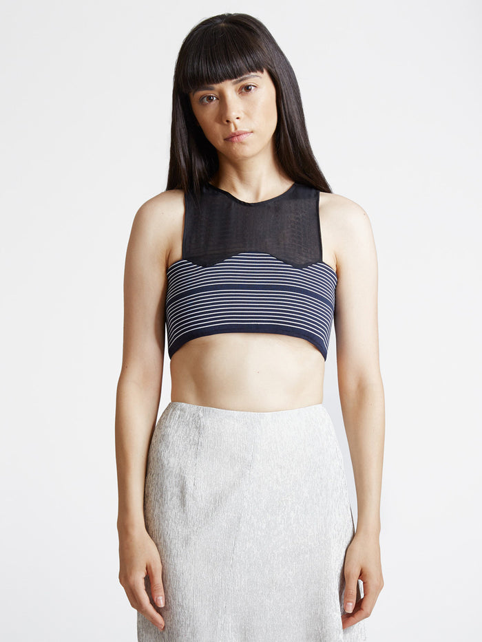 Cropped Curve Rib Top Navy/White