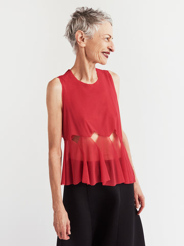 red mesh top with pleats
