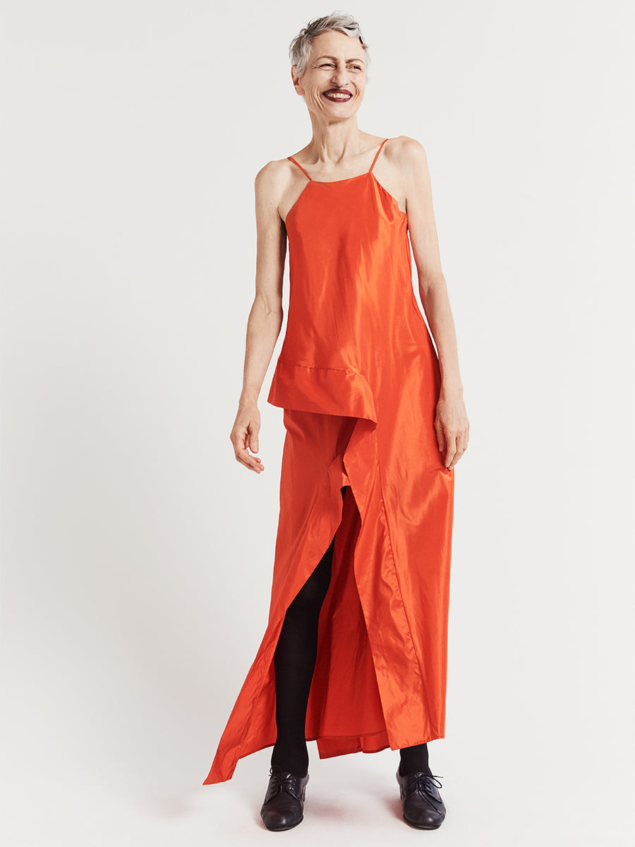 Bright orange silk taffeta asymmetric long evening dress