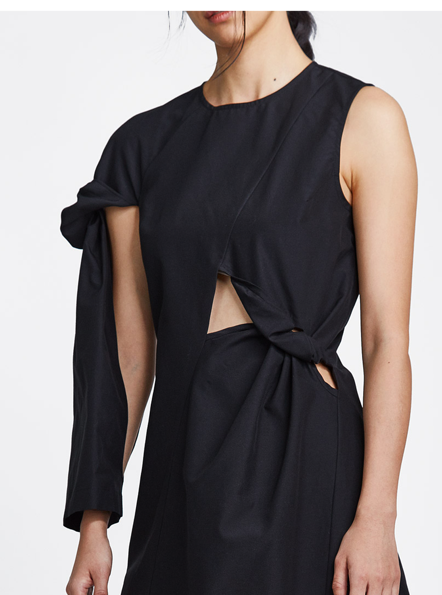 One Sleeve Dress Black