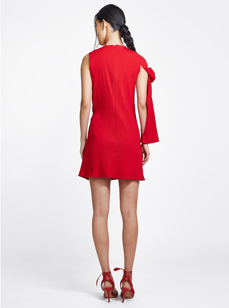 One Sleeve Dress Red