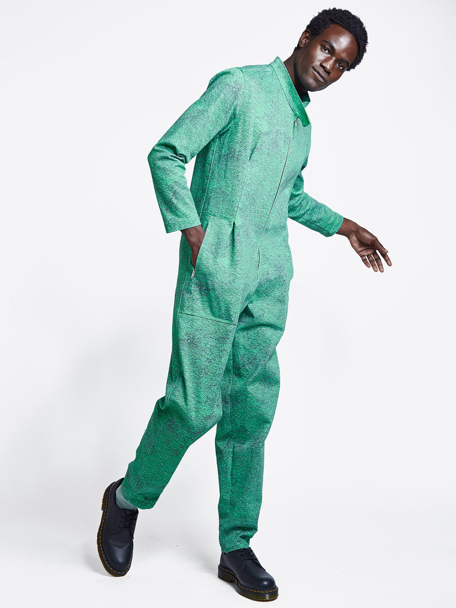 mens green print denim jumpsuit
