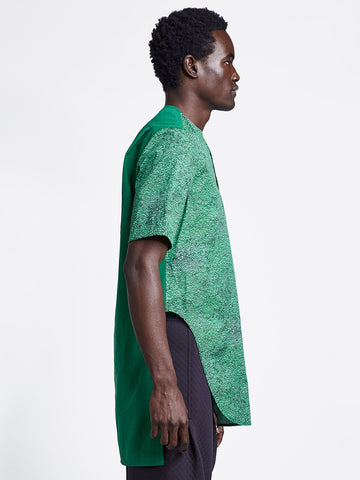 Loop placket short sleeve extra long men's shirt in green print on model
