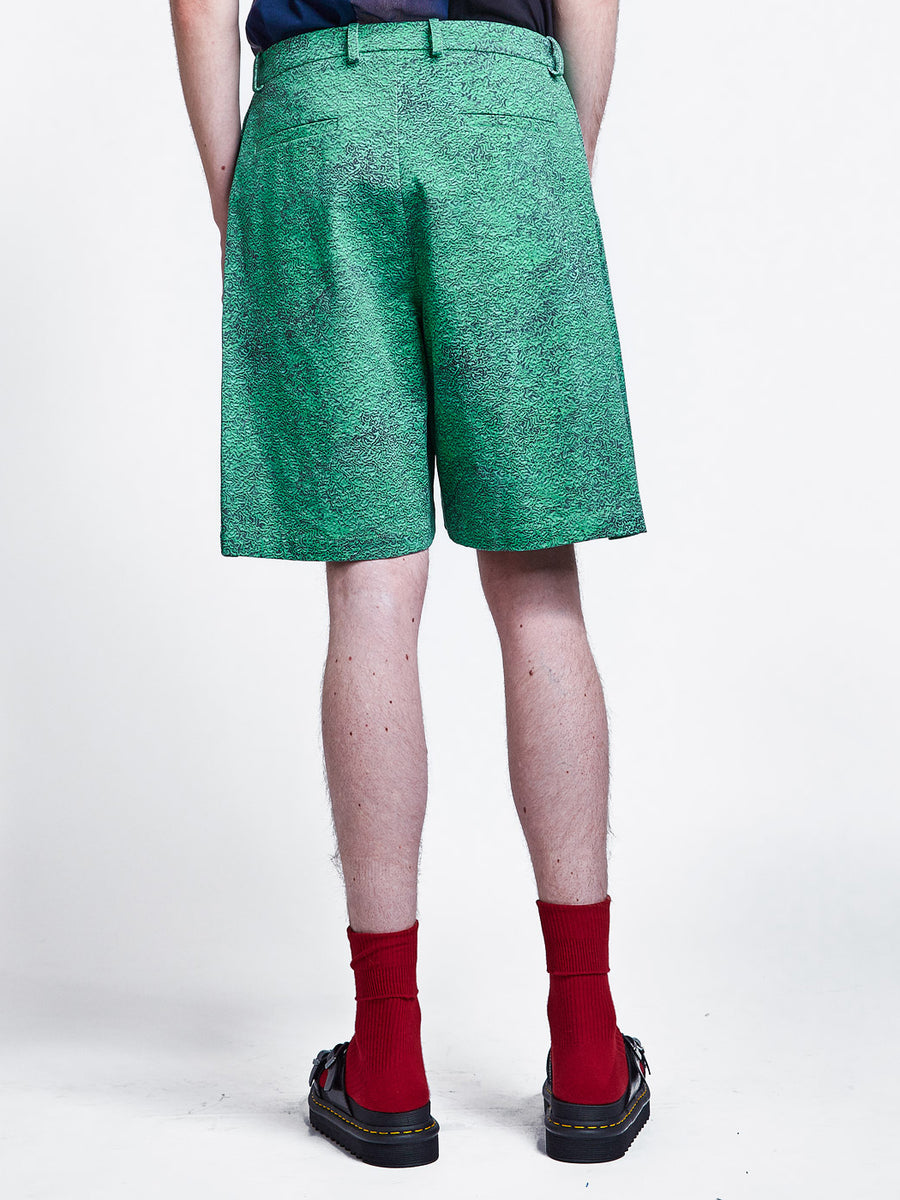 Side Pleat Shorts Print