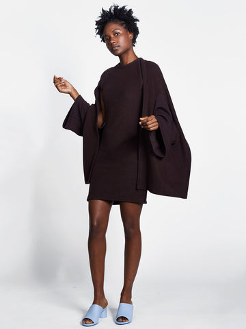 Dark plum knit dress with shawl sleeve design