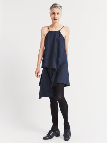 Navy cotton asymmetric party or special occasion short dress