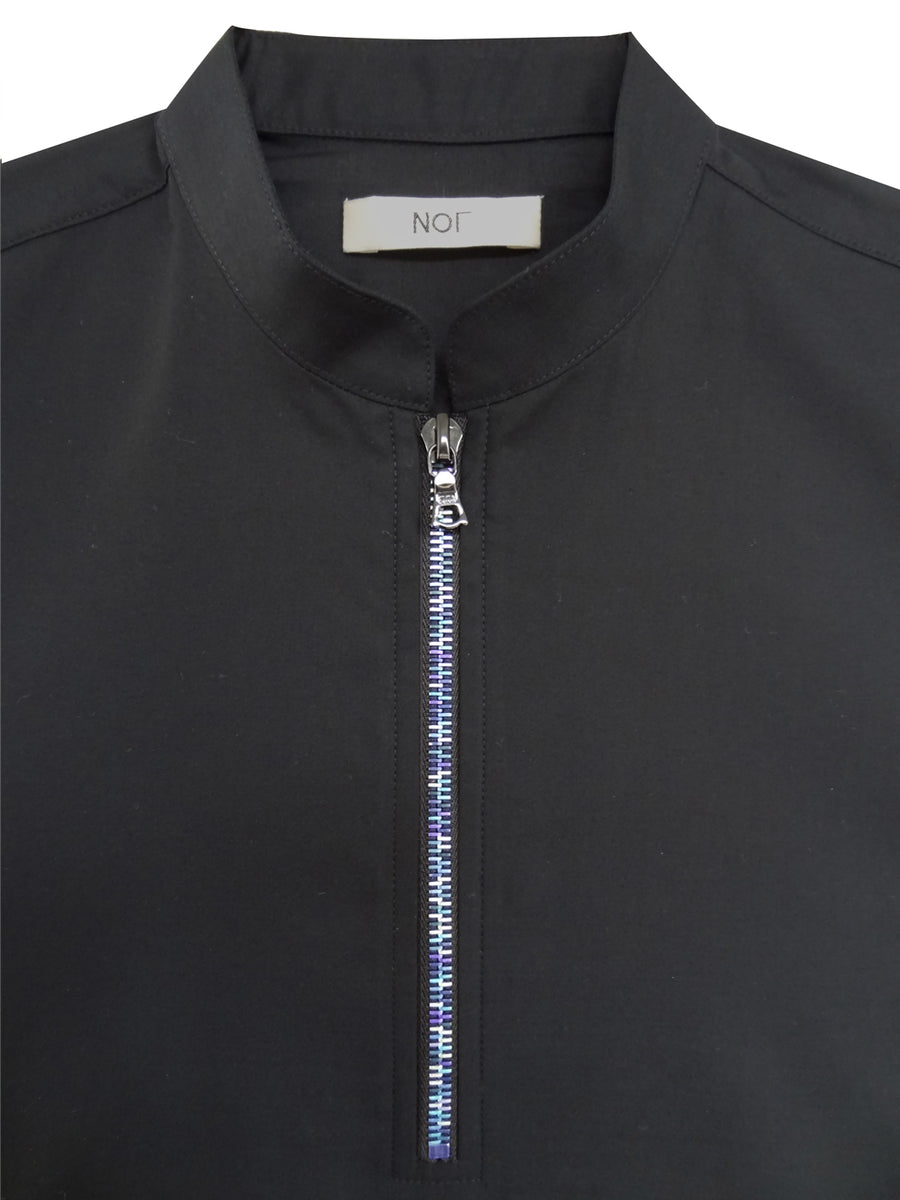 Short sleeve  polo shirt in black cotton with blue zipper
