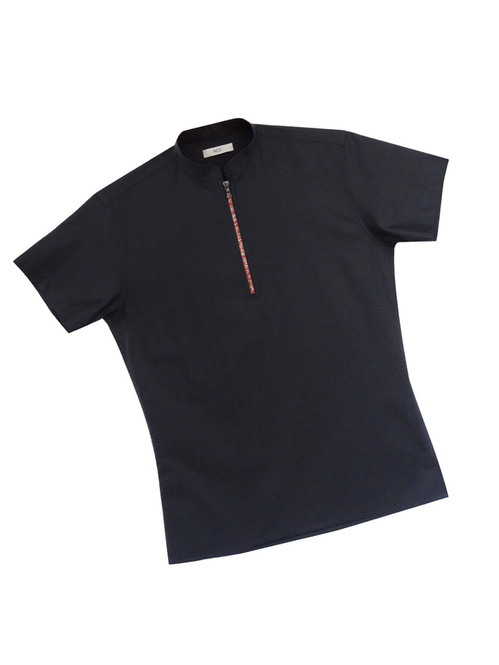 Zipper Short Sleeve Polo with Red