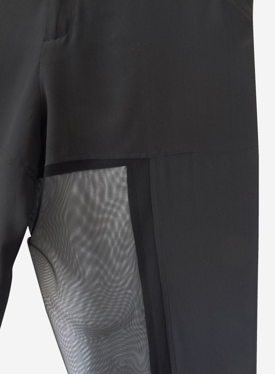 black silk pants with sheer mesh side panels