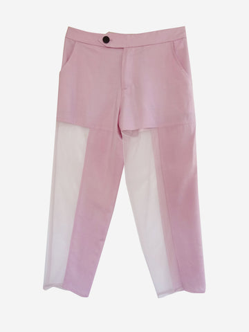 silk lavender pants with sheer mesh panels