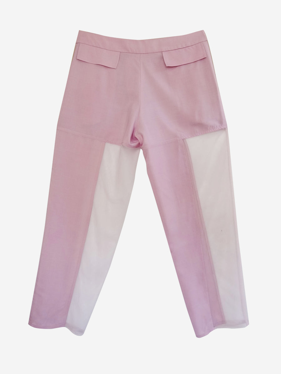 lavender pants with sheer mesh side panels