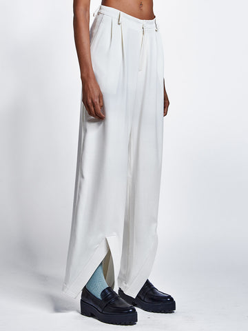 Womens cream wool pleated trousers with ankle detail