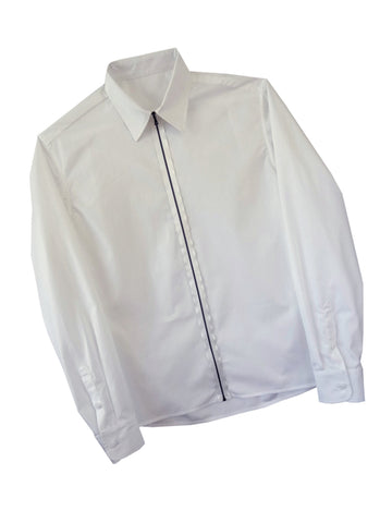 White Zipper Shirt with Classic Collar