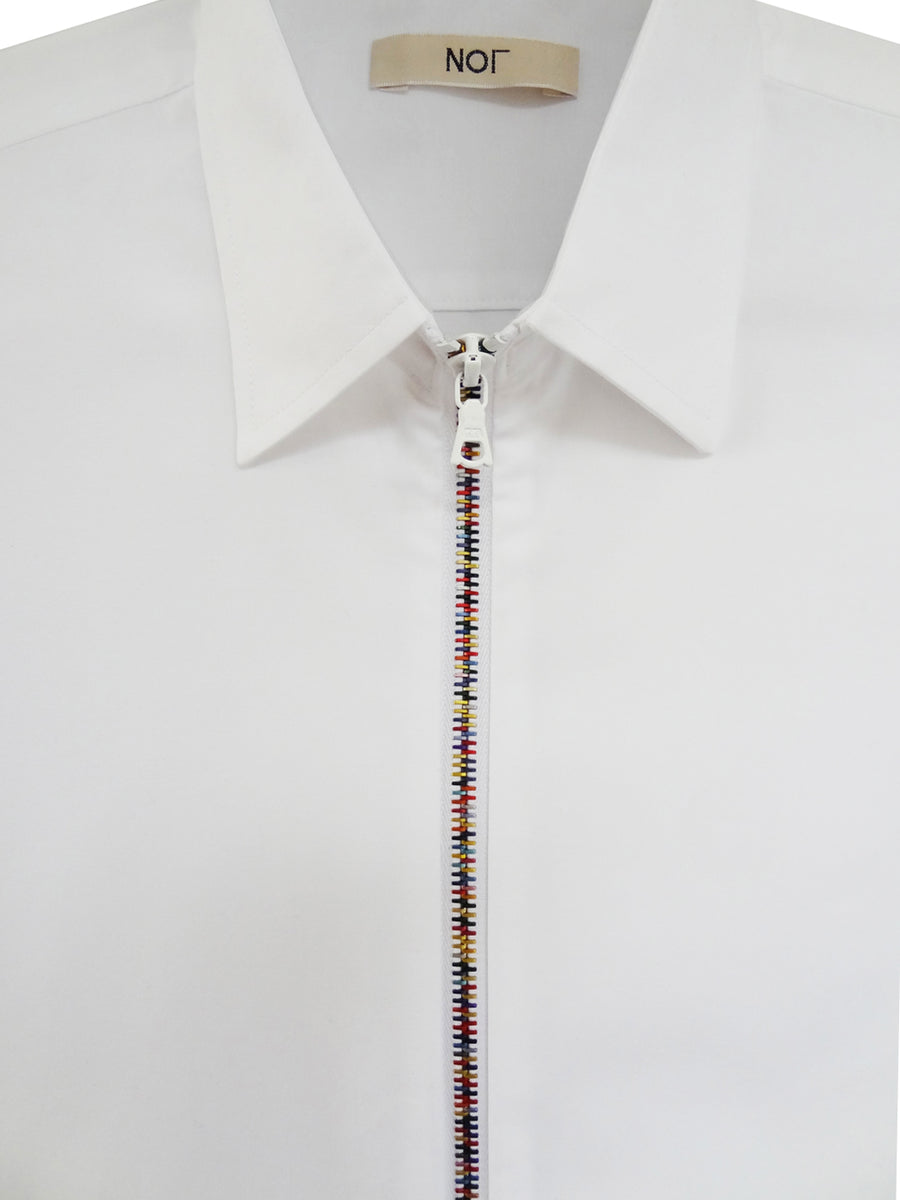 White Zipper Shirt Rainbow with Classic Collar