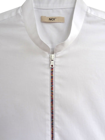 Mens white cotton shirt with mandarin collar and rainbow colored metal zipper.