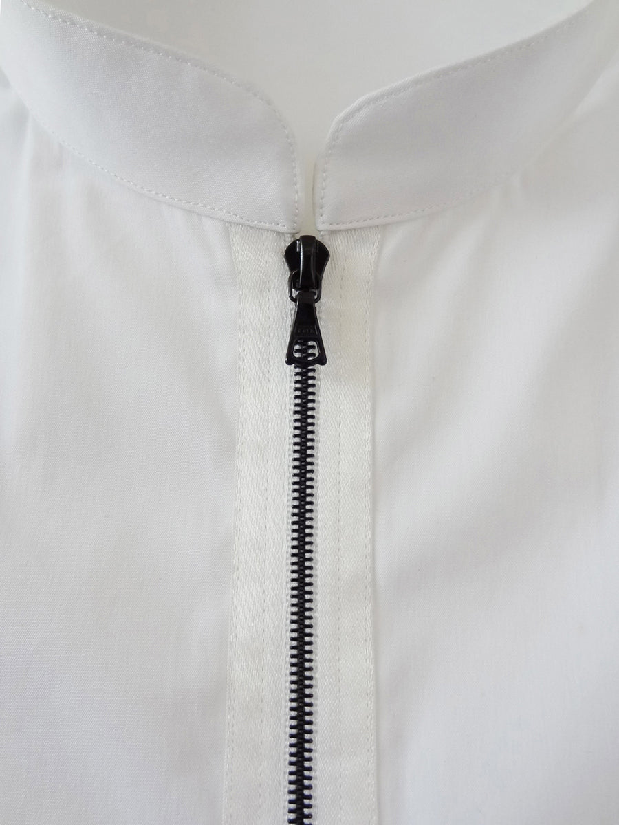 White Zipper Shirt with Mandarin Collar