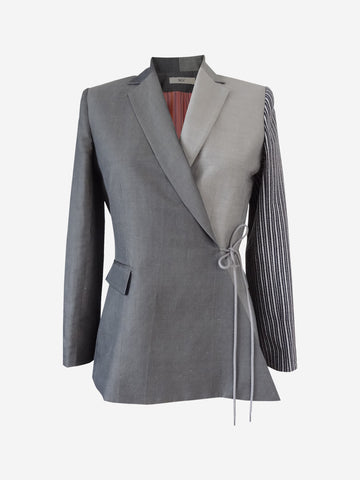 Multi paneled designer gray wrap  jacket for women