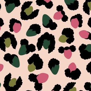 Brown and black boys and girls creating a faux leopard print in a pink and green colorway
