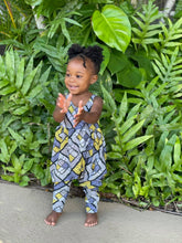 Load image into Gallery viewer, Image of beautiful Black toddler in yellow and grey romper