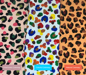Image depicting the three colorways available in the Black Magic leopard print