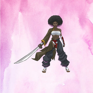 Image of person with afro wielding sword