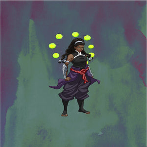 Image of person with locs surrounded by orbs