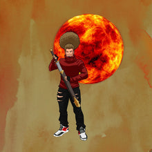 Load image into Gallery viewer, Image of person with afro in front of a red sun