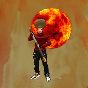 Image of person with afro in front of a red sun