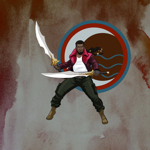 Image of person with locs wielding swords