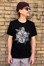 Load image into Gallery viewer, Salty Raven Drummer T-Shirt - Unisex Silver on Black