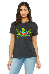 Octo Rocks Out T-Shirt - Womens Dark Gray Heather