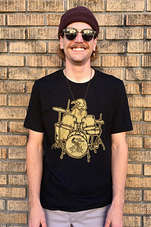 Salty Raven Drummer T-Shirt - Unisex Gold on Black