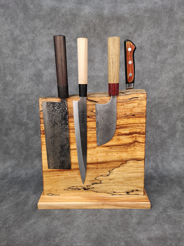 "11"" x 11"" Spalted Maple Countertop Knife Block - #010"