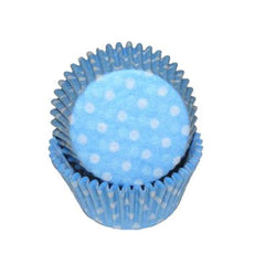 MINI LIGHT BLUE POLKA DOT BAKING CUPS - Cake Decorating Supplies | Cake Supplies at Devine Deals