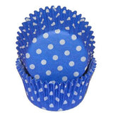 BLUE WITH WHITE DOTS BAKING CUPS - Cake Decorating Supplies | Cake Supplies at Devine Deals