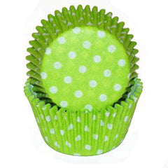 LIME GREEN WITH WHITE DOTS BAKING CUPS - Cake Decorating Supplies | Cake Supplies at Devine Deals