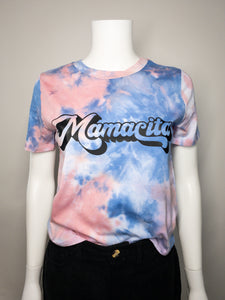 Mamacita Tie Dye Tee - Light Pink and Blue
